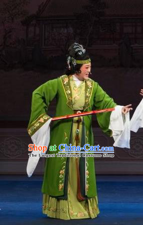 Chinese Shaoxing Opera Rich Dame Green Dress Apparels and Headpieces Tao Li Mei Yue Opera Laodan Elderly Female Garment Costumes