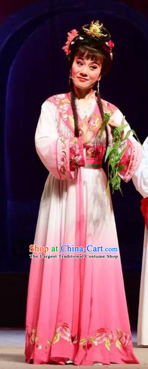 Chinese Shaoxing Opera Actress Garment Apparels and Headdress Tao Li Mei Yue Opera Hua Tan Dress Young Female Costumes