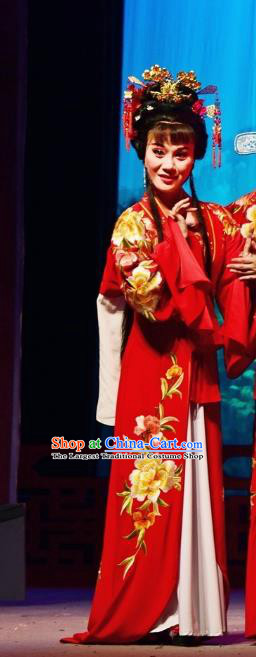 Chinese Shaoxing Opera Diva Wedding Garment and Headdress Tao Li Mei Yue Opera Hua Tan Costumes Bride Red Dress Apparels