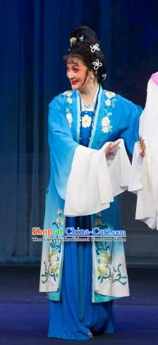 Chinese Shaoxing Opera Actress Blue Dress Costumes and Headpieces Tao Li Mei Yue Opera Huadan Young Lady Garment Apparels