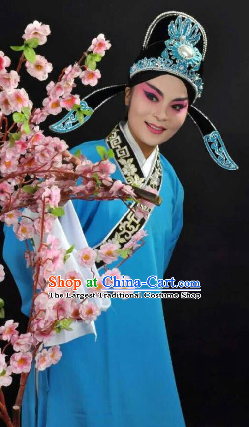 Li Mei Yue Chinese Yue Opera Young Man Blue Robe Clothing and Hat Shaoxing Opera Xiaosheng Garment Scholar Apparels Costumes