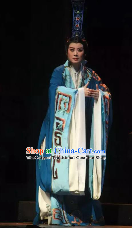 Chinese Yue Opera Official Blue Costumes Han Feizi Young Male Clothing and Headwear Shaoxing Opera Xiaosheng Han Fei Garment Apparels