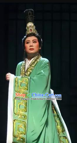 Chinese Yue Opera Young Male Official Green Costumes and Headwear Han Feizi Apparels Clothing Shaoxing Opera Xiaosheng Han Fei Garment