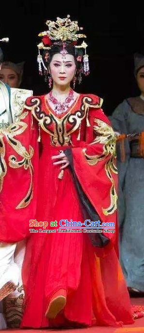 Chinese Shaoxing Opera Hua Tan Red Dress Costumes and Headpieces Han Feizi Yue Opera Actress Princess Apparels Garment