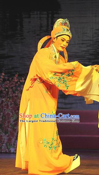 He Wenxiu Chinese Yue Opera Young Male Robe Costumes and Headwear Shaoxing Opera Xiaosheng Scholar Garment Apparels Clothing
