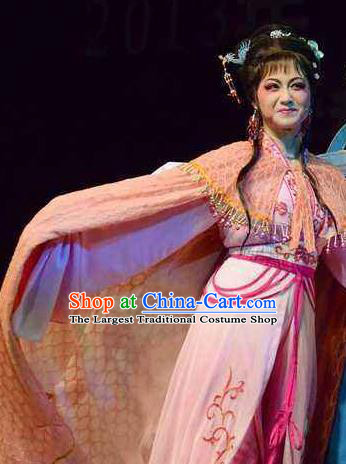 Chinese Shaoxing Opera Young Female Wang Lanying Dress Garment and Headpieces He Wenxiu Yue Opera Hua Tan Costumes Actress Apparels