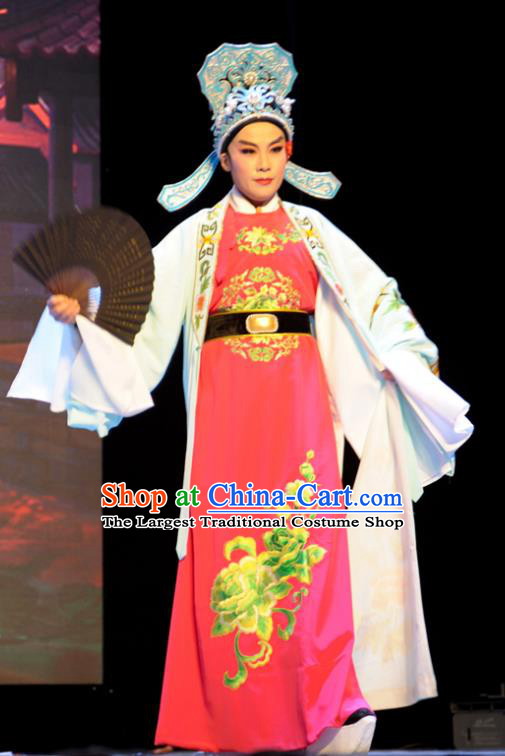 He Wenxiu Chinese Yue Opera Young Male Zhang Tang Apparels Costumes and Headwear Shaoxing Opera Xiaosheng Bully Garment Clothing