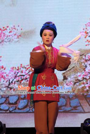 Chinese Shaoxing Opera Elderly Female Dress Garment and Headdress He Wenxiu Yue Opera Old Woman Apparels Costumes