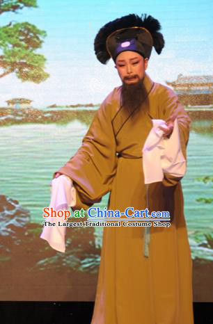 He Wenxiu Chinese Yue Opera Elderly Male Garment Apparels and Hat Shaoxing Opera Laosheng Old Servant Costumes