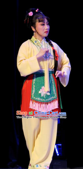 Chinese Shaoxing Opera Xiaodan Dress Apparels Costumes and Headpieces He Wenxiu Yue Opera Servant Girl Garment
