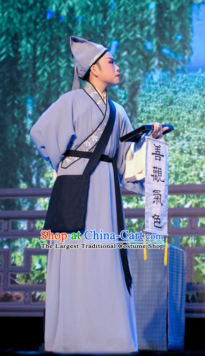 He Wenxiu Chinese Yue Opera Soothsayer Garment Apparels and Hat Shaoxing Opera Xiaosheng Young Male Costumes