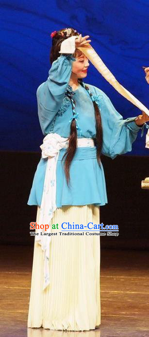 Chinese Shaoxing Opera Country Lady Dress Apparels Costumes and Headpieces He Wenxiu Yue Opera Servant Girl Young Lady Garment