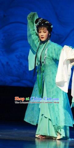 Chinese Shaoxing Opera Young Female Wang Lanying Green Dress Costumes and Headpieces He Wenxiu Yue Opera Hua Tan Garment Apparels