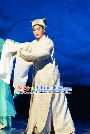 He Wenxiu Chinese Yue Opera Scholar Young Male Garment Apparels and Hat Shaoxing Opera Xiaosheng Costumes