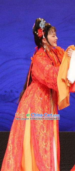 Chinese Shaoxing Opera Hua Tan Bride Wang Lanying Dress Costumes and Headpieces He Wenxiu Yue Opera Actress Wedding Garment Apparels