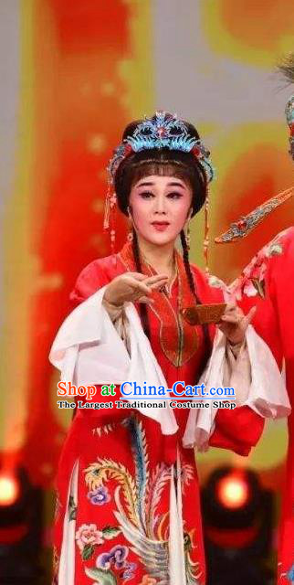 Chinese Shaoxing Opera Young Female Tang Meifen Red Dress Apparels Garment and Headdress The Number One Scholar Is Not Love Yue Opera Hua Tan Wedding Costumes
