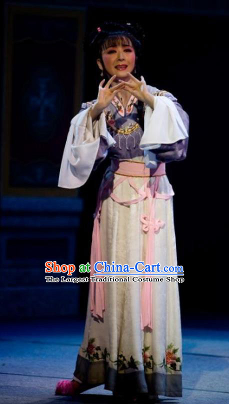 Chinese Shaoxing Opera Young Lady Tang Meifen Dress Apparels and Headdress The Number One Scholar Is Not Love Yue Opera Hua Tan Garment Costumes