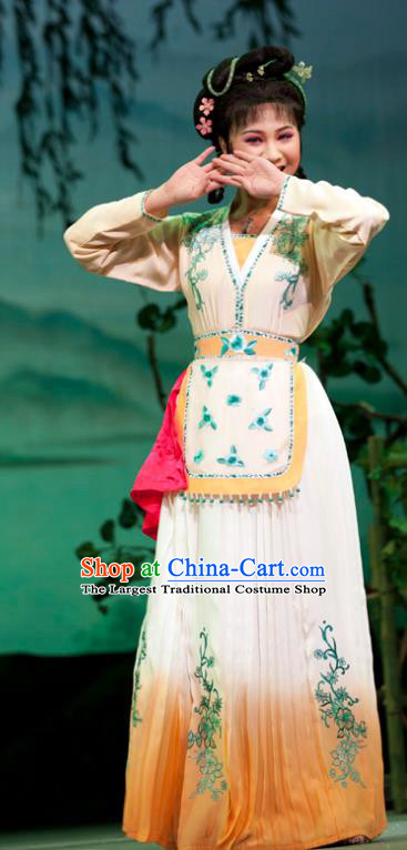 Emperor and the Village Girl Chinese Shaoxing Opera Country Lady Dress Costumes and Headpieces Yue Opera Hua Tan Apparels Young Female Garment