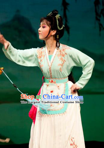 Emperor and the Village Girl Chinese Shaoxing Opera Xiaodan Dress Costumes and Headpieces Young Female Garment Yue Opera Country Lady Apparels