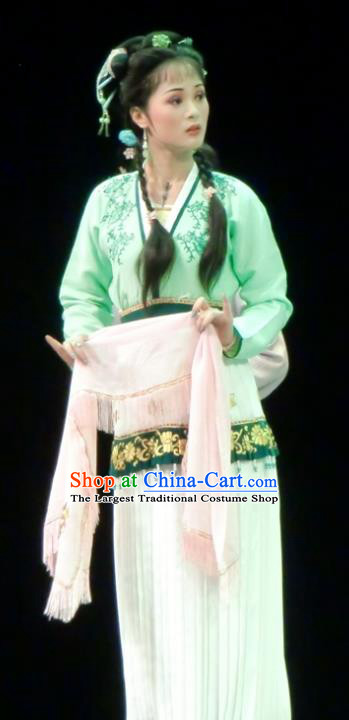 Emperor and the Village Girl Chinese Shaoxing Opera Country Lady Dress Apparels Costumes and Headdress Yue Opera Xiaodan Young Female Garment