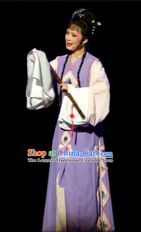 Chinese Shaoxing Opera Young Female Purple Dress and Headpieces The Number One Scholar Is Not Love Tang Meifen Garment Yue Opera Hua Tan Apparels Costumes