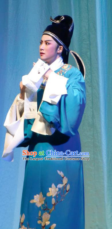 Chinese Yue Opera Xiaosheng Blue Robe Costumes and Hat Emperor and the Village Girl Shaoxing Opera Young Male Apparels Scholar Garment