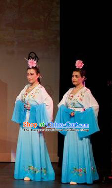 Chinese Shaoxing Opera Female Dress Garment and Headpieces Yue Opera Court Maid Costumes Emperor and the Village Girl Palace Lady Apparels