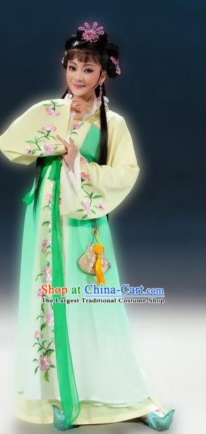 Chinese Shaoxing Opera Hua Tan Green Dress and Headpieces Butterfly Love Monk Yue Opera Young Lady Xiang Ning Apparels Garment Costumes