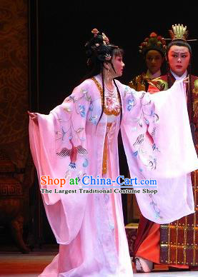 Chinese Shaoxing Opera Court Lady Dress and Headdress Butterfly Love Monk Yue Opera Hua Tan Garment Imperial Consort Xiang Ning Apparels Costumes