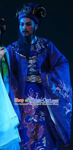 Chinese Yue Opera Elderly Male Butterfly Love Monk Costumes and Headwear Shaoxing Opera Laosheng Emperor Garment Apparels
