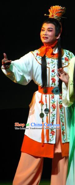 Chinese Yue Opera Scholar Garment Butterfly Love Monk Costumes and Headwear Shaoxing Opera Xiaosheng Young Male Apparels