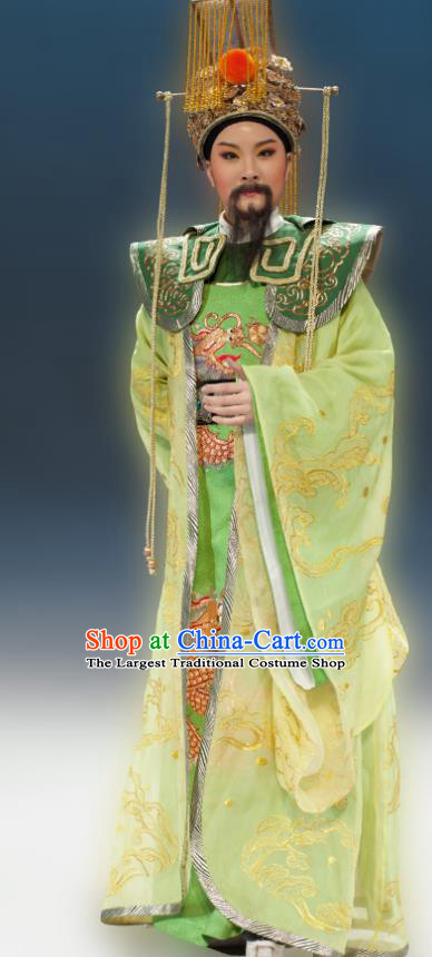 Chinese Yue Opera Emperor Apparels Butterfly Love Monk Costumes and Headwear Shaoxing Opera Laosheng Elderly Male Garment