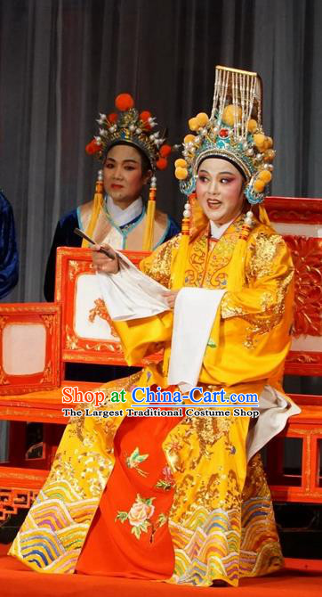Chinese Yue Opera Emperor Liu Xiu Apparels Golden Palace Refuse Marriage Costumes and Headwear Shaoxing Opera Male Role Garment