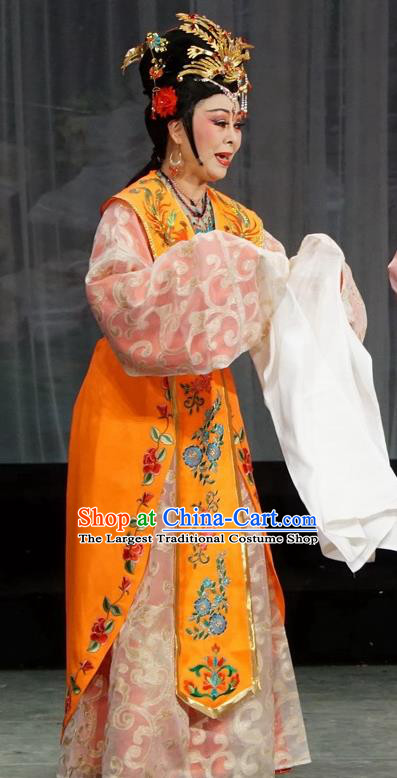Chinese Shaoxing Opera Court Queen Guo Dress and Headdress Golden Palace Refuse Marriage Yue Opera Empress Garment Apparels Costumes
