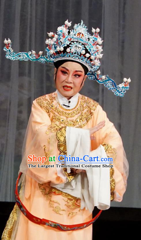 Chinese Yue Opera Chancellor Golden Palace Refuse Marriage Song Hong Apparels and Headwear Shaoxing Opera Official Embroidered Robe Garment Costumes