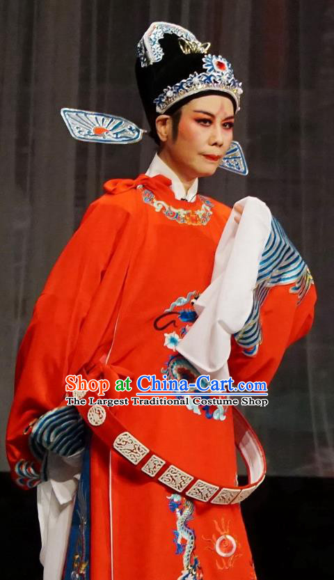 Chinese Yue Opera Wedding Costumes Palace Refuse Marriage Apparels and Headwear Shaoxing Opera Scholar Official Song Hong Red Embroidered Robe Garment