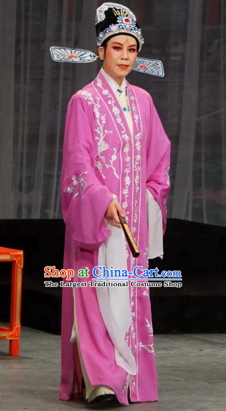 Chinese Yue Opera Scholar Costumes Palace Refuse Marriage Apparels and Headwear Shaoxing Opera Official Song Hong Garment