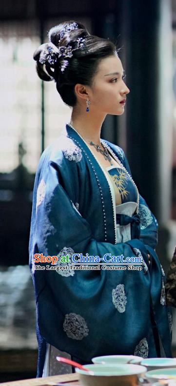 Chinese Song Dynasty Noble Consort Historical Costumes and Headpieces Drama Serenade of Peaceful Joy Ancient Court Lady Zhang Bihan Dress Garment