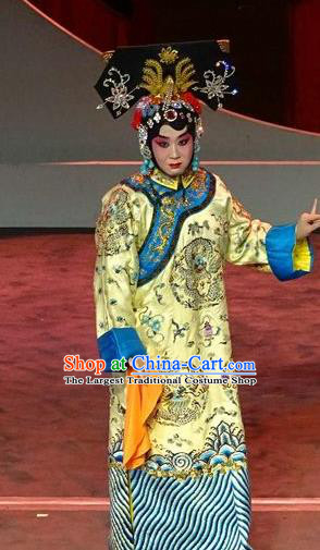 Chinese Beijing Opera Qing Dynasty Queen Borjigin Apparels Costumes and Headdress Nan Hai Zi Traditional Peking Opera Empress Dress Garment