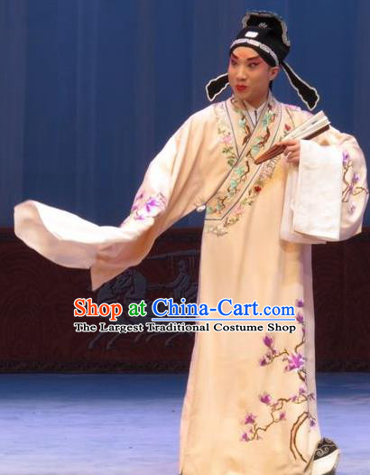 San Kan Yu Mei Chinese Ping Opera Xiaosheng Costumes and Headwear Pingju Opera Young Male Apparels Scholar Clothing