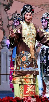 Chinese Beijing Opera Dame Apparels Costumes and Headdress Tell On Sargam Traditional Peking Opera Pantaloon Dress Elderly Woman Garment