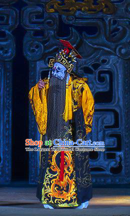 Ru Ji Chinese Peking Opera King Wei Garment Costumes and Headwear Beijing Opera Laosheng Apparels Elderly Male Clothing