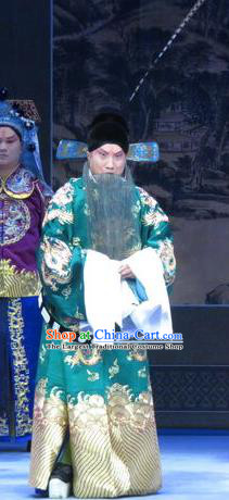 Lv Bu And Diao Chan Chinese Ping Opera Laosheng Costumes and Headwear Pingju Opera Elderly Male Apparels Green Official Clothing