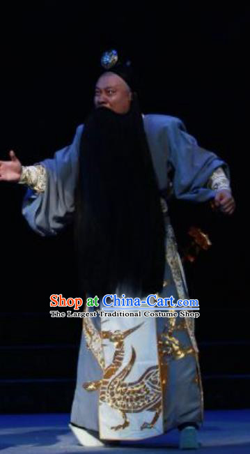 Chun Qiu Er Xu Chinese Peking Opera Elderly Male Garment Costumes and Headwear Beijing Opera Laosheng Apparels Official Wu Zixu Clothing