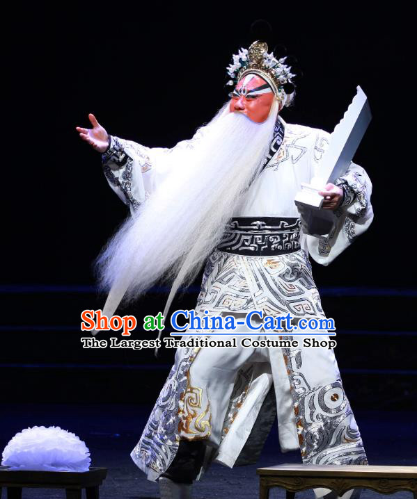 Chun Qiu Er Xu Chinese Peking Opera Laosheng Garment Costumes and Headwear Beijing Opera Elderly Male Apparels Elderly Official Wu Zixu Clothing