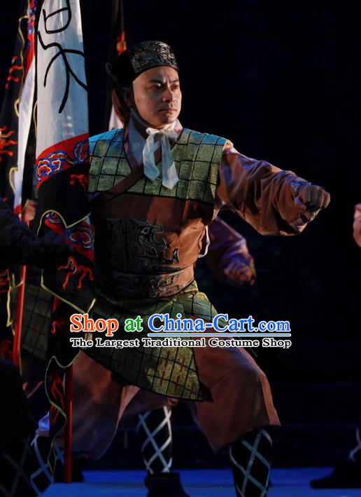 Chun Qiu Er Xu Chinese Peking Opera Takefu Garment Costumes and Headwear Beijing Opera Swordsman Apparels Soldier Clothing