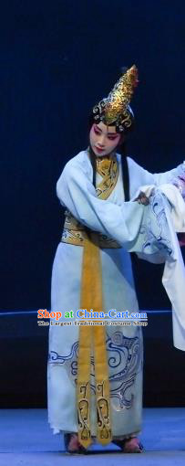 Chinese Beijing Opera Xiaodan Apparels Costumes and Headdress Chun Qiu Er Xu Traditional Peking Opera Young Lady Dress Servant Girl Garment
