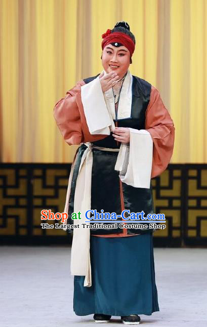 Chinese Beijing Opera Laodan Apparels Costumes and Headdress Love in the Wardrobe Traditional Peking Opera Pantaloon Dress Elderly Female Garment
