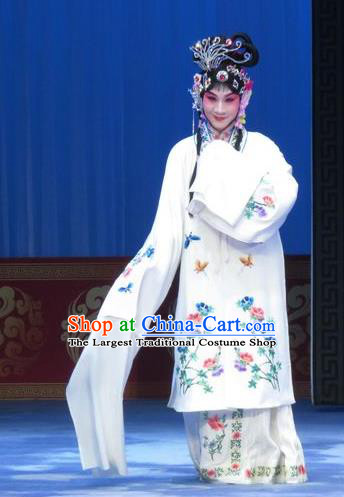 Chinese Ping Opera Diva Apparels Costumes and Headpieces Traditional Pingju Opera Lv Bu And Diao Chan Hua Tan Young Beauty White Dress Garment