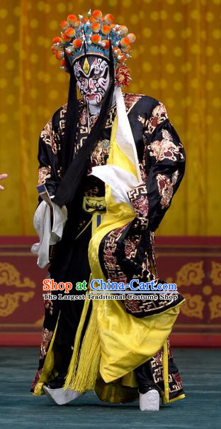 Tao Hua Cun Chinese Peking Opera Bully Garment Costumes and Headwear Beijing Opera Martial Male Zhou Tong Apparels Clothing